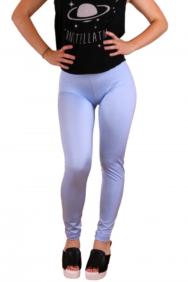 Light Blue Shiny Leggings