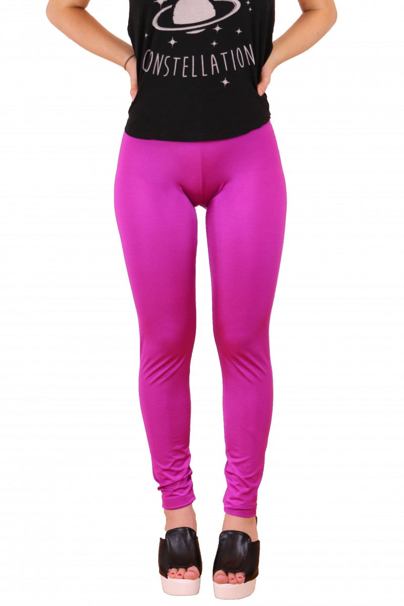 Fuchsia Pink Shiny Leggings