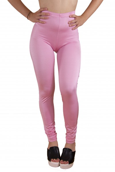 Flamingo Pink Shiny Leggings