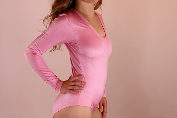 Flamingo Pink Stretch Bodysuit with Crotch Hooks