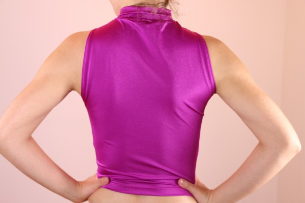 Fuchsia Pink High Neck Crop
