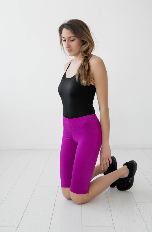 Fuchsia Pink Knee length Leggings