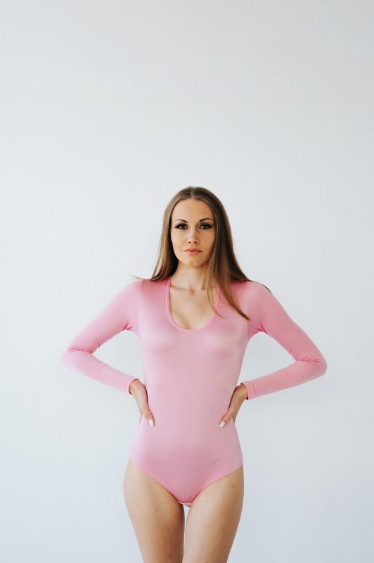 Flamingo Pink Stretch Bodysuit with Crotch Hooks